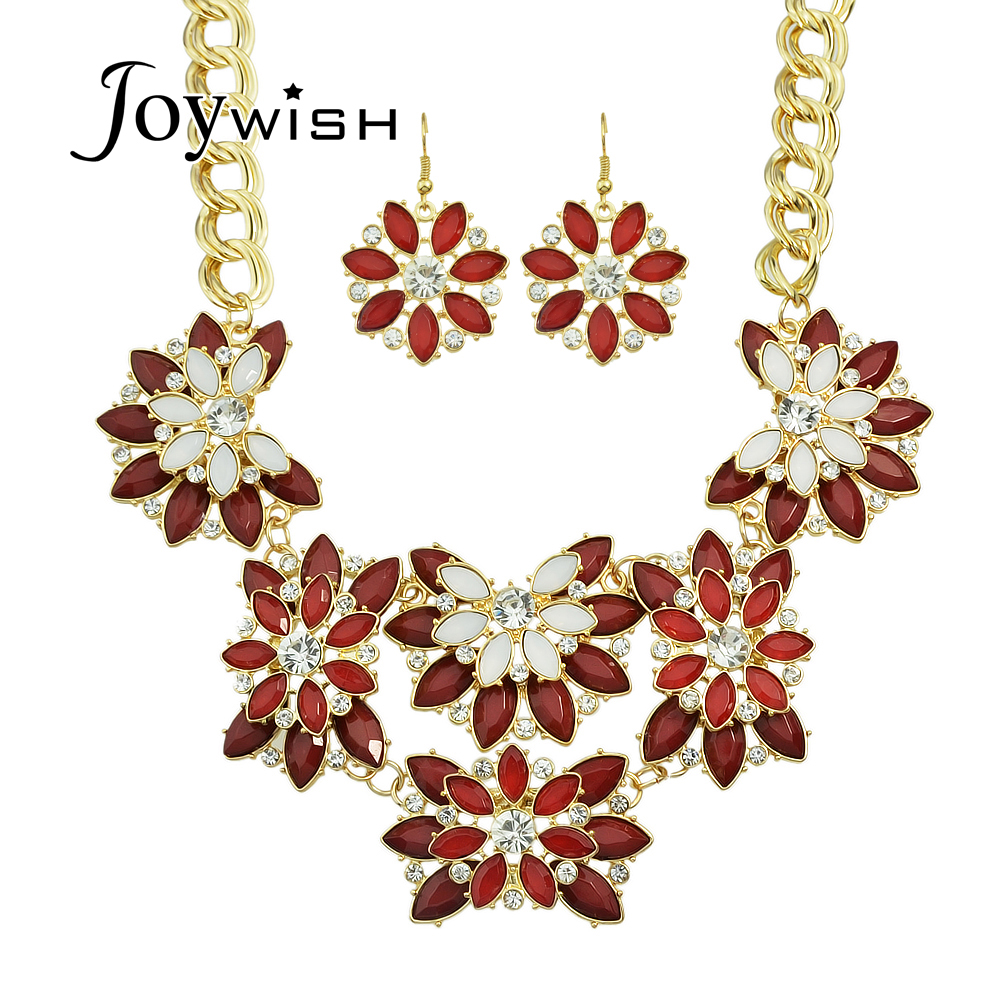 Luxury Jewelry Sets Red Black Beige Acrylic With Rhinestone Big Flower  Choker Necklace And Drop Earrings For Women