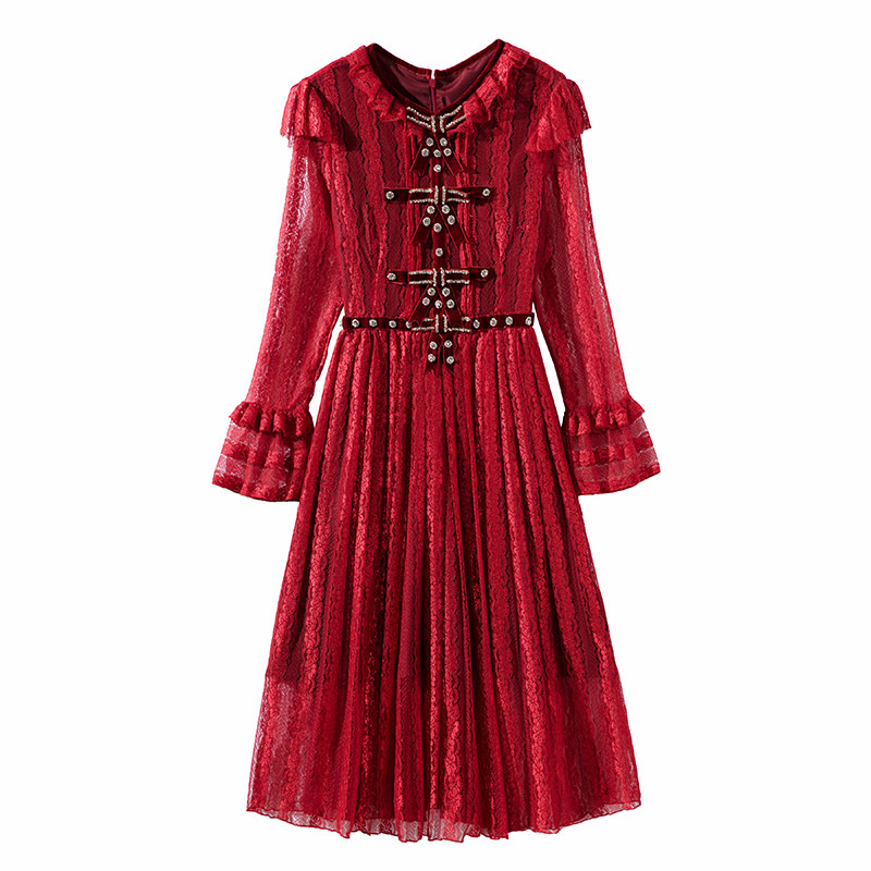New arrival 2018 spring women girls vintage fashion brand black lace dress handmade beading bow flare sleeve pleated dresses red spring autumn woman dress faux pearl rhinestone beading sleeve cuff knitted dress fashion vintage elastic black red party dress