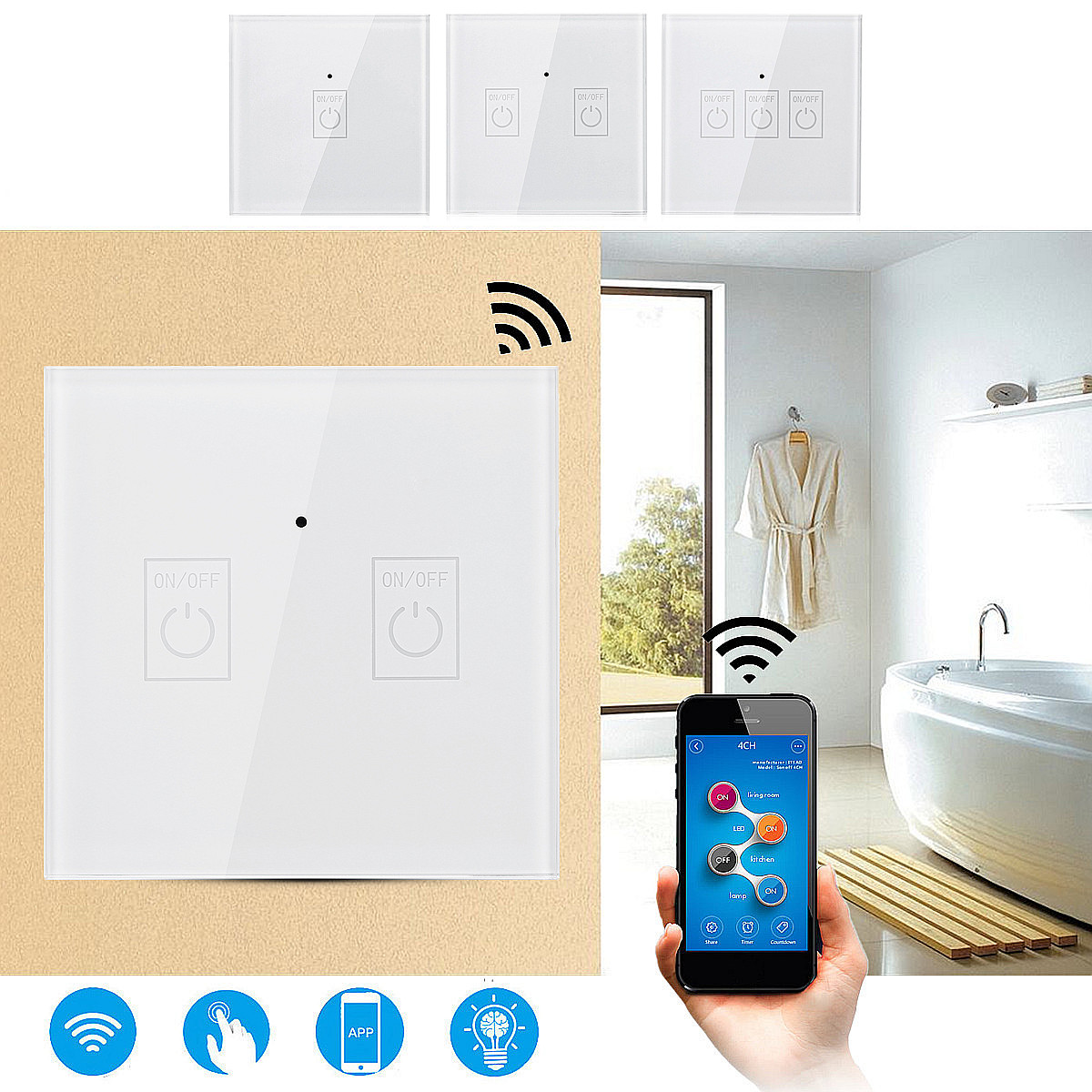 For Amazon-Echo Google Home 1/2/3Gang WIFI Smart Wall Light Remote Panel Switch ABS + Toughened Glass Panel AC100V-230V 50/60Hz