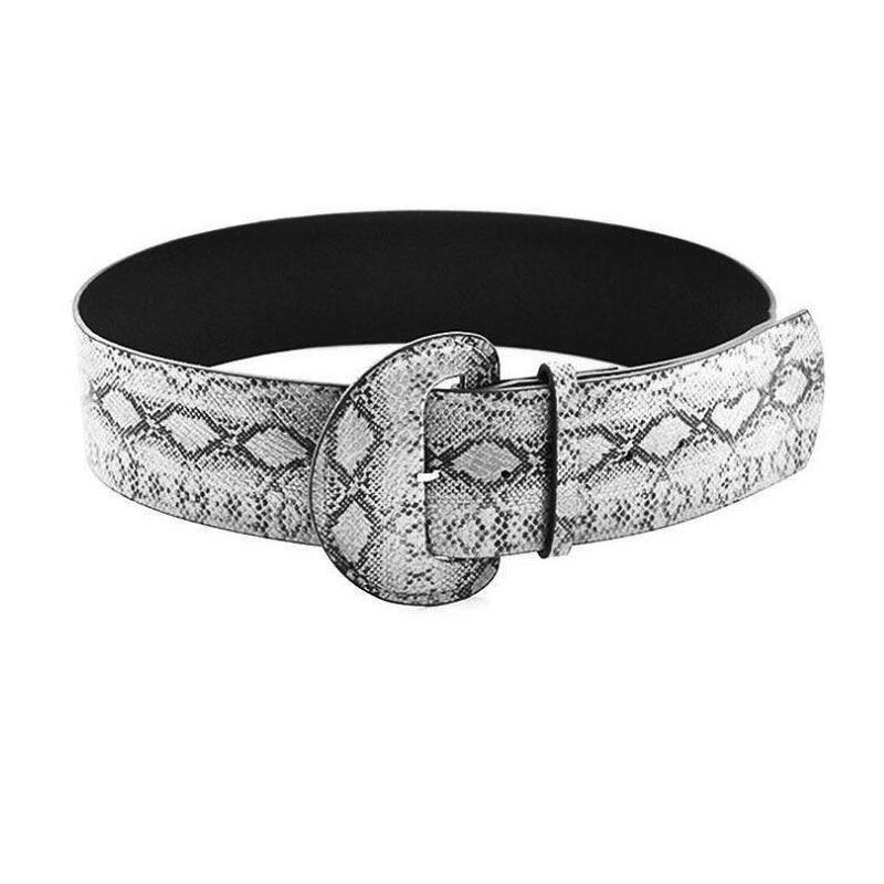 De las mujeres de la moda serpiente estampado serpiente cinturón ancho Faxu de hebilla de cuero Blet dama Slim Waistaband novedad accesorios lujos de mujer