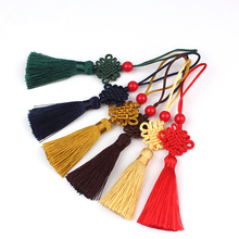 12pcs/lot 5cm Chinese knot tassel with beads silk fringe sewing trim decorative key tassels for curtains home decoration