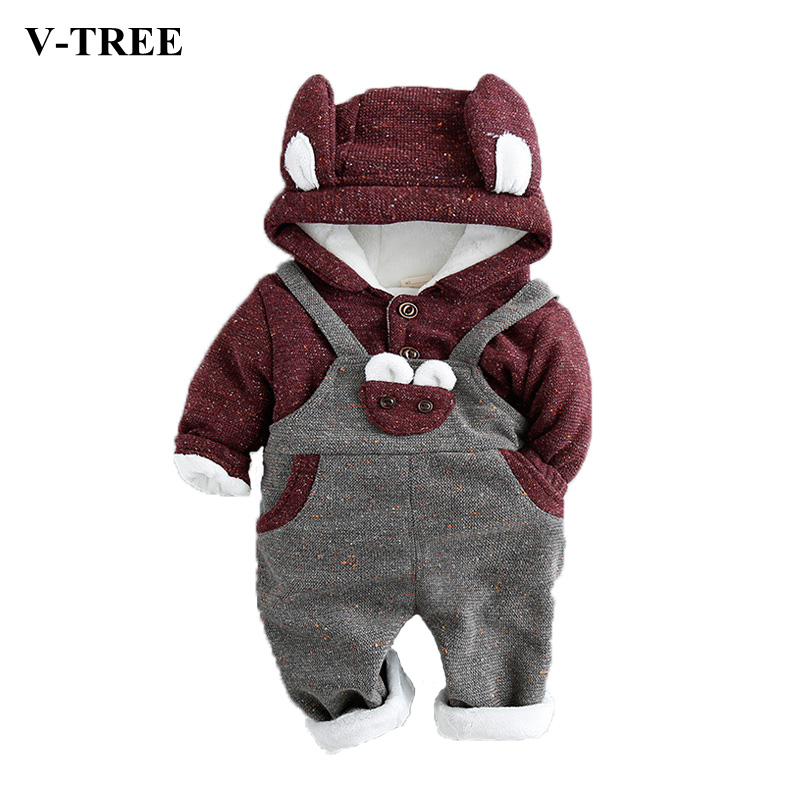 ФОТО Spring Baby Sport Suit Plus Velvet Strap Pants + Coat Two-piece Sets Animal Suit For Baby 2pcs Sets For Kids Baby Clothes