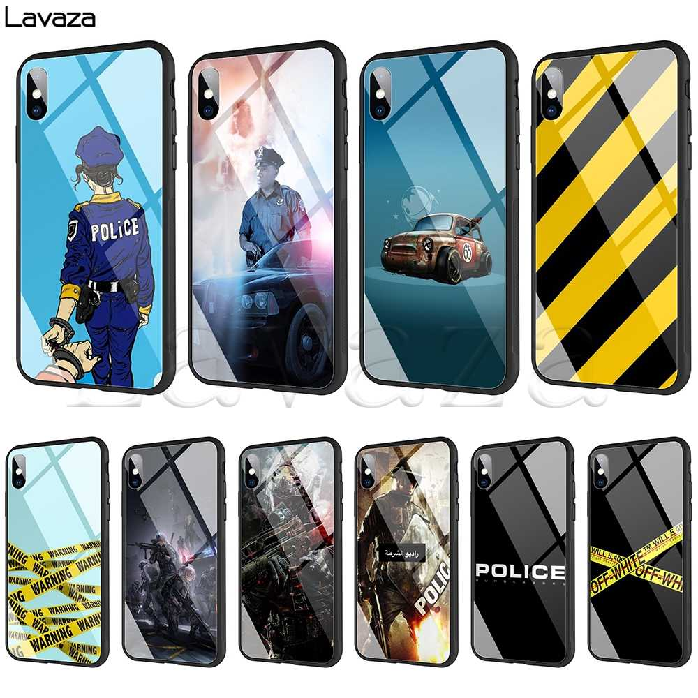 Lavaza Polisi Simbol Tempered Glass Case TPU untuk iPhone X Max XR X 8 7 6 6 S PLUS