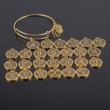 Factory Expandable Bracelet ANCIENT GOLD A-Z Initial Letter Charm Bracelet Adjustable Wire Wrap Cuff Bangle