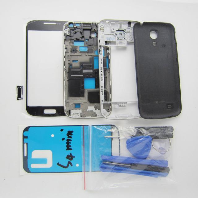 Tampa Da Caixa completa + quadro Do Meio + tampa da bateria i9192 Reparação peças para samsung galaxy s4 siv mini & exterior de vidro & ferramentas