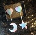 Galaxy Стиль Женщины Серьги Голубой Эмалью Вселенной Луна Звезды сердце Милые Серьги Сообщение Для GirlsGift Ювелирные Изделия