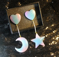 Galaxy Style Women Earrings Blue Enamel Universe Moon Stars heart Cute Post Earrings For GirlsGift Fashion Jewelry