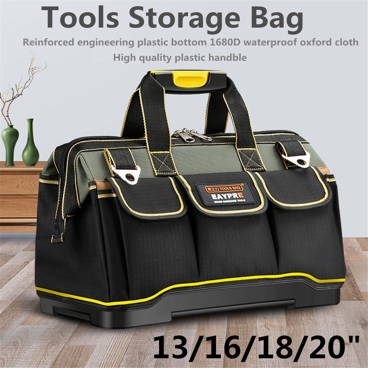13-20inch 1680D Oxford Cloth Foldable Tool Bag Shoulder Bag Handbag Hardware Tool Organizer Canvas Storage Bag