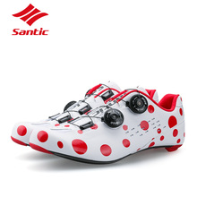 Santic Cycling Shoes PRO Carbon Fiber Road Cycling Shoes Road Bike Shoes Rotate Buckle Bicycle Shoe Zapatillas Ciclismo Men Gife santic road cycling shoes green bicycle shoes nylon sole road shoes cycling zapatillas ciclismo s12019y