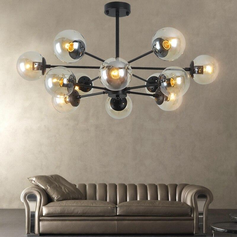 Modern glass chandelier 6/8/10/12 Heads Nordic pendent light Hotel living room light Magic beans AC 110V 220V 230V цена