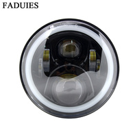 1PSC Black 7 Inch LED Motorcycle Headlight Lamp Fit High Low Beam With DRL LED Phare