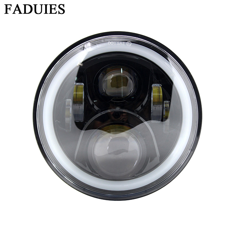 faduies black 7 inch led motorcycle headlight lamp fit. Black Bedroom Furniture Sets. Home Design Ideas