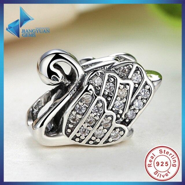 Moda Presentes 925 Sterling Silver Elegante Majestoso Cisne, limpar CZ Encantos Fit Pan Pulseira & Colar de Jóias Acessórios