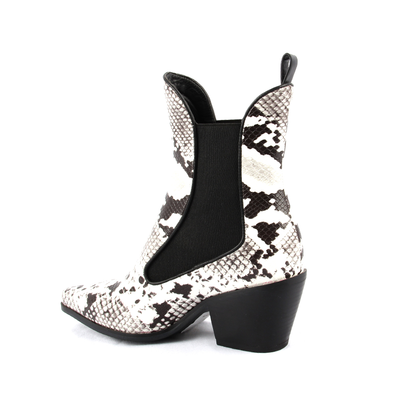 Women Boots Snake Print Ankle Boots Square Heel Fashion Pointed Toe Ladies Sexy Shoes 2018 New Chelsea Boots Combat Shoes Woman in Ankle Boots from Shoes