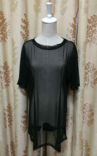 Sexy negro ver a través de malla de manga corta Cool Oversize camisa cubrir Tops blusa disfraz mujer un tamaño