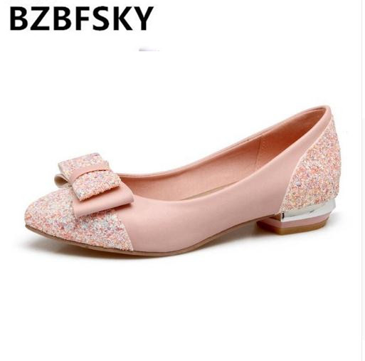 Zapatos Beige Appartements Femme Filles Bowtie Grande De Bling white Chaussures Pour Mariage Ballerines black 43 pink Bzbfskywomen Glitter Taille Plates nqCAa47cBn