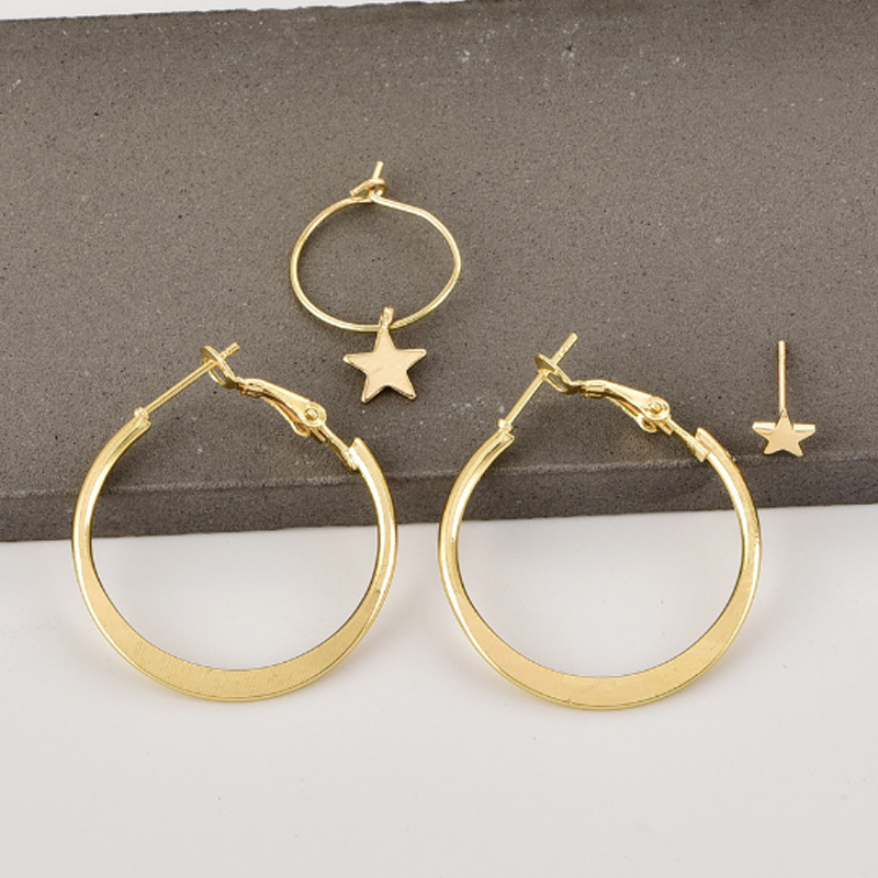 4PC new stars circle earrings gold elegant set hypoallergenic high quality womens accessories boutique