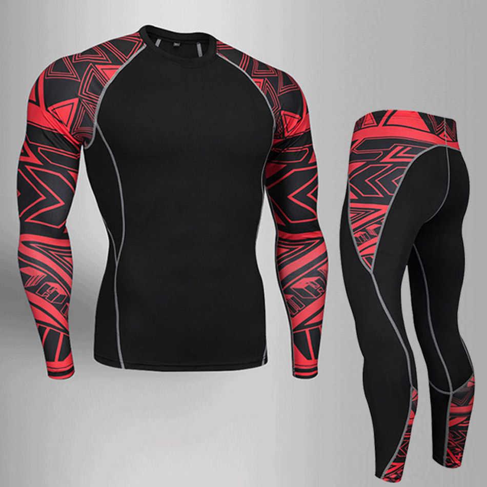 Männer Sport Unterwäsche Set Schnell trocknend Fitness Shirt + Leggings 2 Stück Trainingsanzug Männer Kompression MMA Kleidung rashguard s-4xl