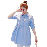 Summer New Fashion Turn Down Collar Blouse T Shirt Girls Dress Sailor Blue Striped Embroidery Sweet