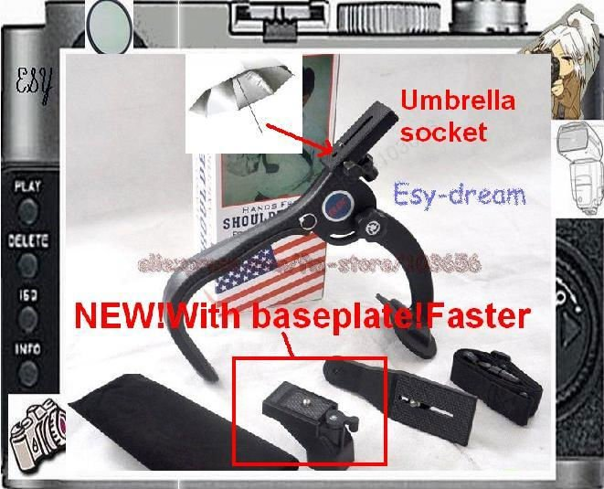 NEW model  with baseplate hand free shoulder support pad with umbrella socket base plate f Camcorder Video HD DV DSLR  5D PT007NEW model  with baseplate hand free shoulder support pad with umbrella socket base plate f Camcorder Video HD DV DSLR  5D PT007