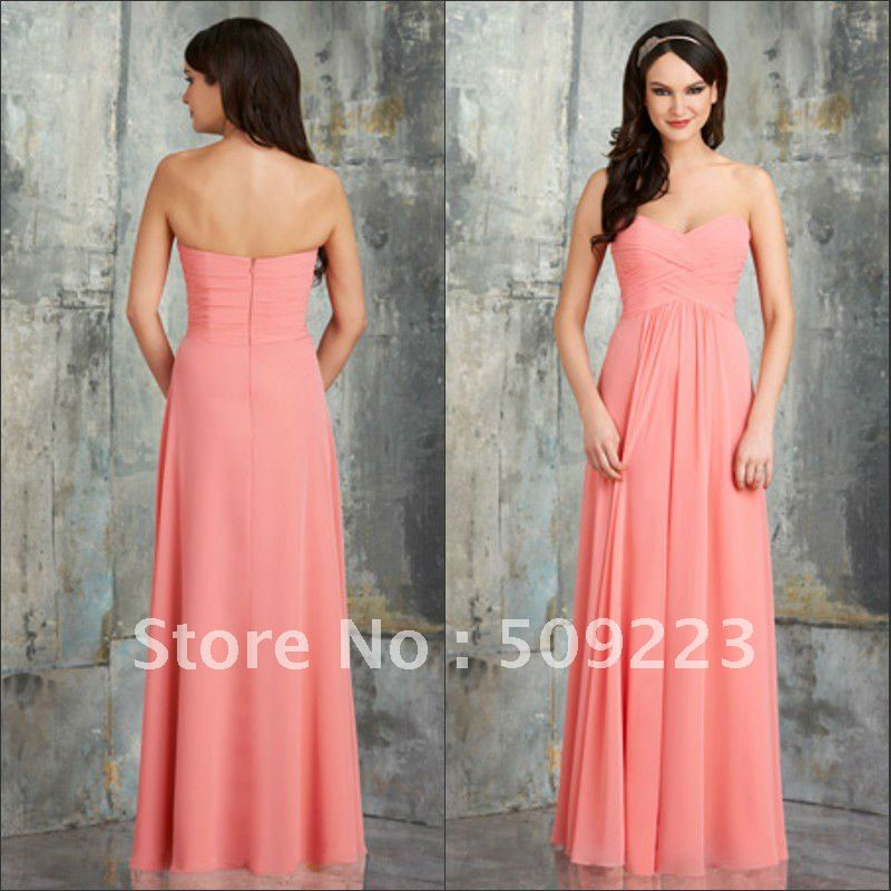 Elegant sweetheart floor length pleating open back zipper chiffon ...