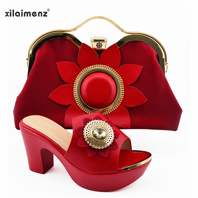 New Italian Elegant Women Shoes And Bag To Match Set African Comfortable Heels Party Shoes And Bag Set For Wedding Dress