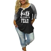 Plus Size Women T Shirt Letter Printed Splicing Stripe Tops 2017 Autumn Winter O Neck Three