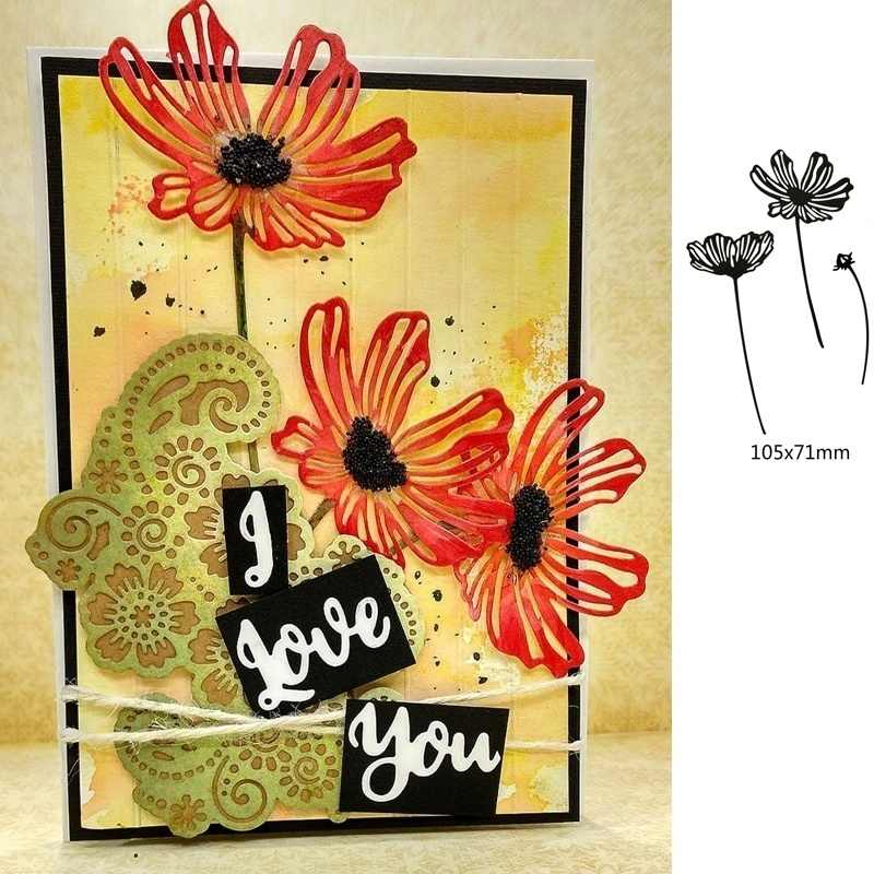 Crazyclown Lacy Poppies Metal Cutting Dies Stencils Scrapbooking Album Stamp Paper Card Embossing