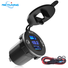 MICTUNING Car Quick Charge 3.0 Car Charger 12V 24V 36W Truck Aluminum Dual USB Socket with LED Digital Voltmeter & Wire Fuse kit