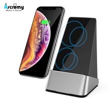 Ascromy cargador inalámbrico Qi para iPhone, XS Max X 8 Plus, Mi 9 Xiaomi, Samsung s10 +, estación de carga, soporte de escritorio, 15W