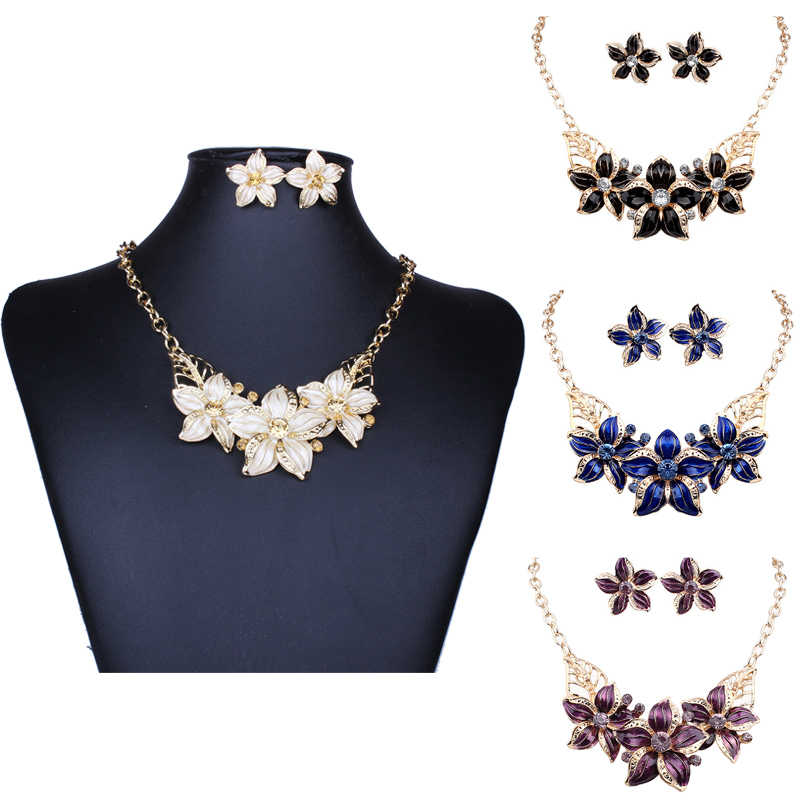 New LNRRABC women necklace earrings Gold Color Alloy Crystal Rhinestones Flower Statement Earring+Necklace Jewelry Sets