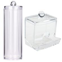 Acrylic Cotton Swab Organizer Box Portable Round Container Storage Case Make up Cotton&Pad Box For Home boite de rangement #555