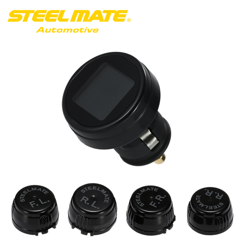 Steelmate TP-74P 4 Sensors Wireless DIY TPMS Tire Pressure Monitor System with LCD Display careud u903 wf tpms wireless tire pressure monitor with 4 external sensors