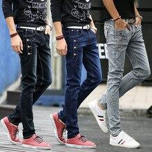Джинсы мужчин 2017, Новая мода корейский стиль High Street Slim Fit Кнопка Личность винтажные Классические джинсовые штаны плюс Размеры брюки
