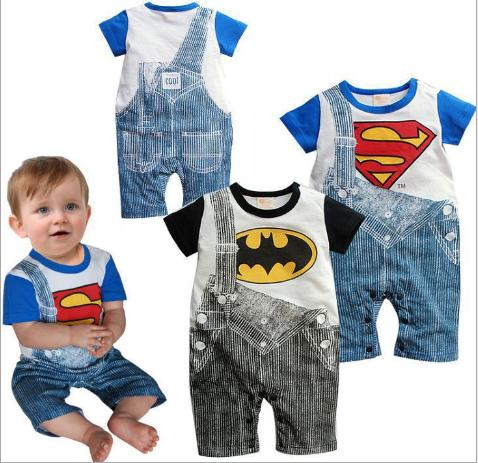 2016 new fashion baby clothing Romper boys handsome gentleman Superman embroidered baby cotton jumpsuit