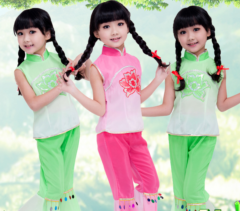 Chinese Folk Dance Children Chinese Dancing Costume Girl Yangko Dance Dress Kids 100-160cm Kids Rese Red /green Stage Dancing Dress 18 Firm In Structure