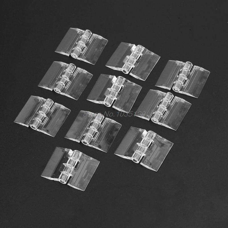 10Pcs Transparent Plastic Folding Hinges Durable Clear Acrylic Hinge Tools Whosale&DropShip