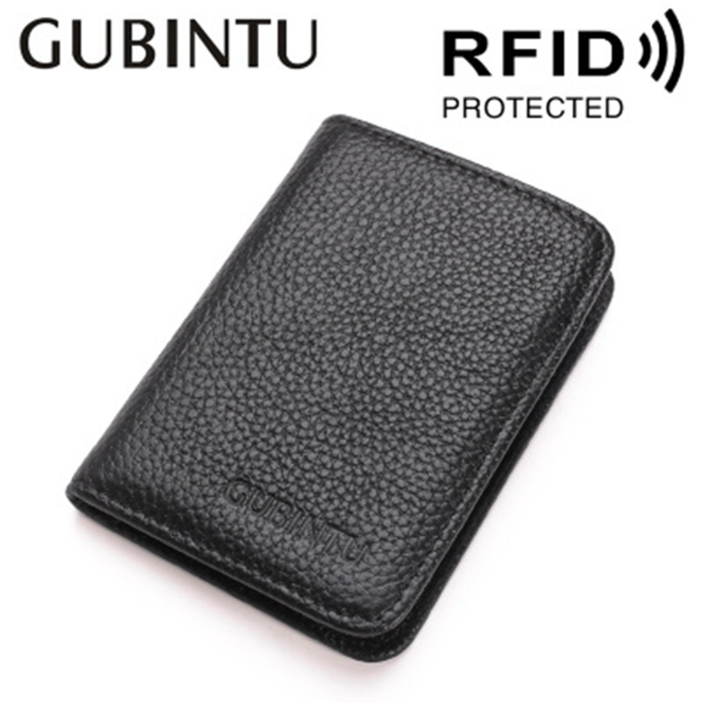 GUBINTU Cowhide Men Coin Purse RFID Credit Card Holder Business Genuine Leather Wallets Carteira Male Small Short Wallets gubintu genuine leather men wallet small brand vintage coin purse slim cowhide leather short card holder bid186 pm49