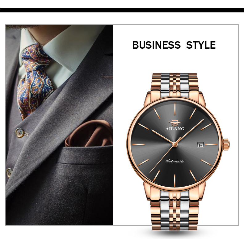AILANG Top Fashion Men Watch Men Automatic Mechanical Man Wrist Wristwatch Stainless Steel Male Clock Relogio Masculino 2019 in Mechanical Watches from Watches