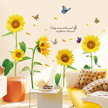 Rural Style Childrens Bedroom Cute Warm Sunflower Stickers Wall Murals Living Room Easily Removable