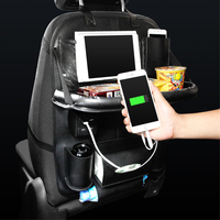 Car Seat Back Bag Organizer on Car USB Charger Storage Pu Leather Travel Multifunction Plate Pocket Stowing Tidying
