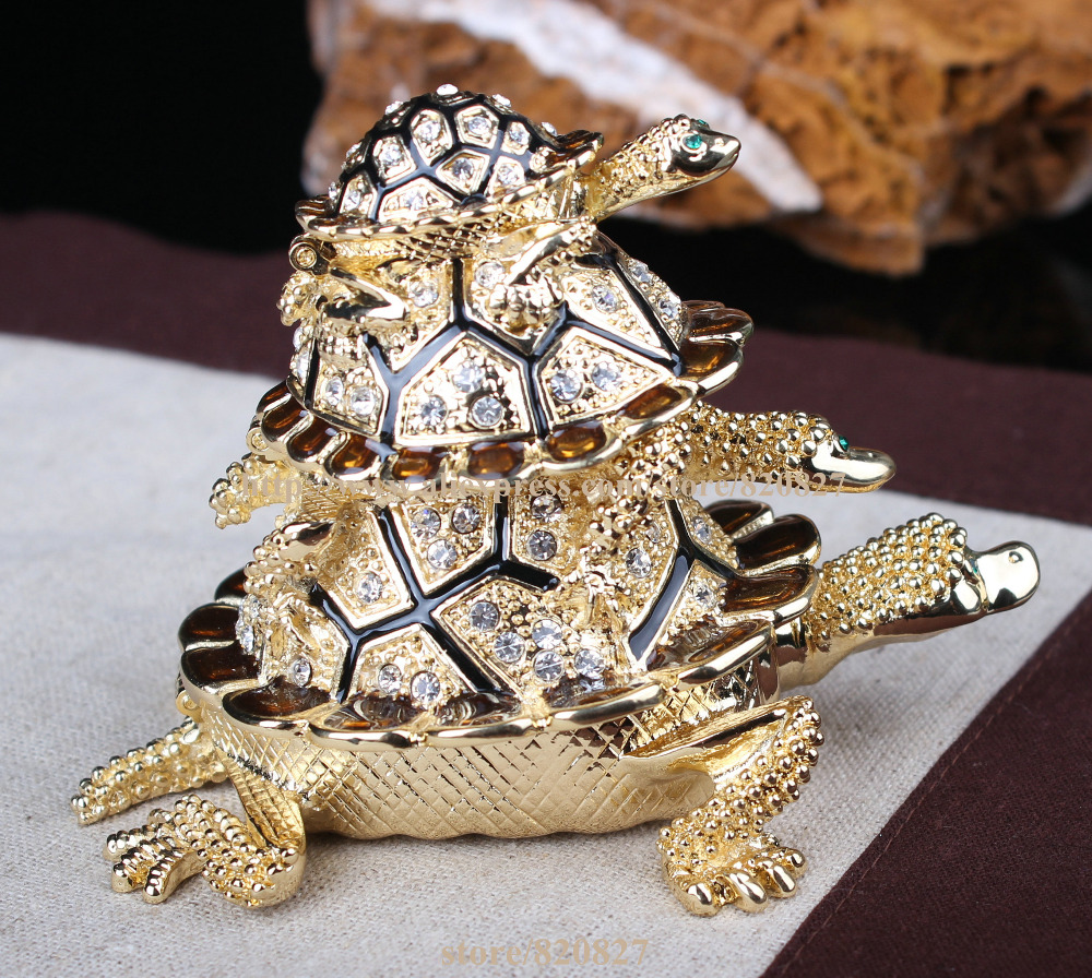Stock Crystal Tortoise Jewelry Trinket Box Big Turtle Souvenir Gifts Home Decoration Gift