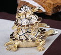 Stock Crystal Tortoise Jewelry Trinket Box Big Turtle  Souvenir Gifts Home Decoration Gift Vintage Mother Baby Turtle Ring Case