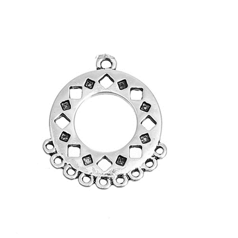 DoreenBeads Zinc Based Alloy Connectors Geometric Antique Silver Round Style Jewelry DIY Findings 25mm(1