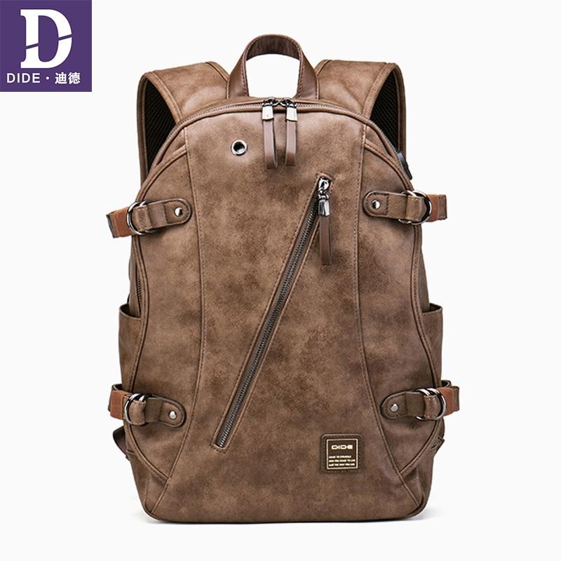 DIDE USB شحن حقيبة ظهر مدرسية الرجال محمول السفر ذهابا حزمة الجلود bagback للماء المدرسية قدرة كبيرة-في حقائب الظهر من حقائب وأمتعة على  مجموعة 1