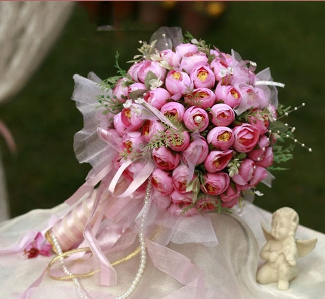 wedding flowers decoration 2 bridal bouquet 99pcs tea wedding flower bridesmaid 9572