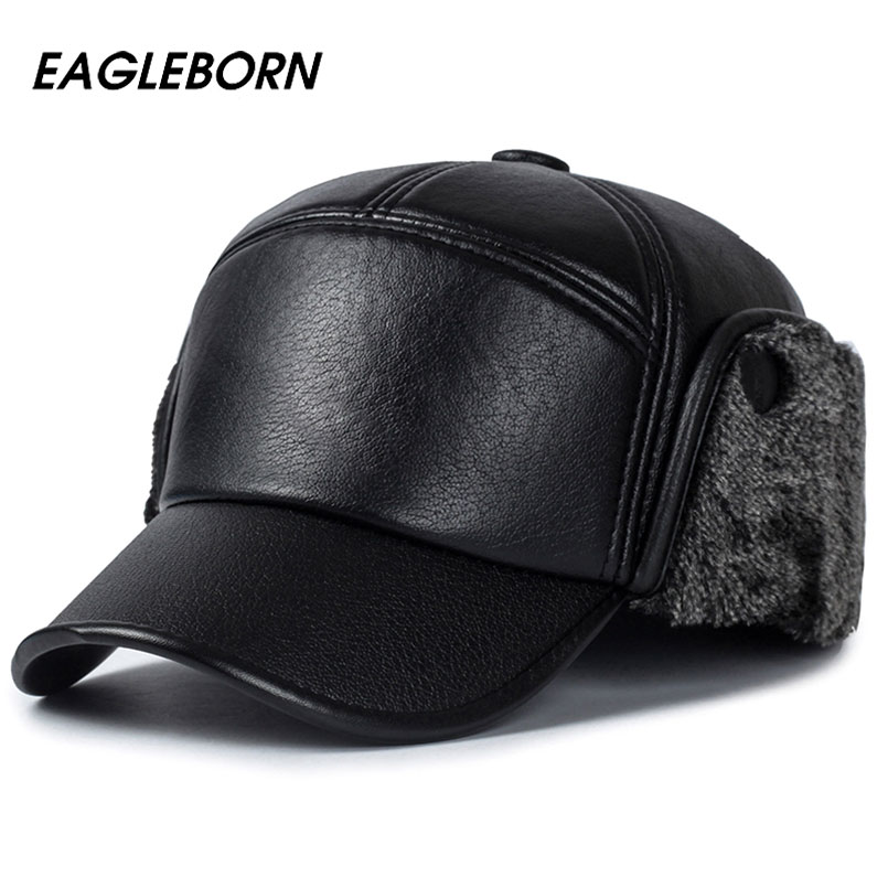 2018 Men winter hats PU leather baseball cap men protect ear fur bomber hats  snapback casquette outdoor Keep warm dad hat gorras-in Bomber Hats from  Men's ...