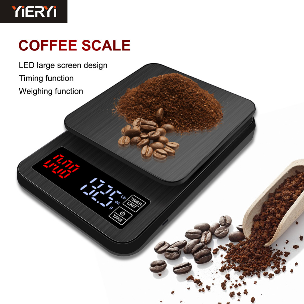 Yieryi LED Digital Coffee Electronic Scale with Timing, USB Power Socket Kitchen Scale 3kg/0.1g, 5kg/0.1g, 10kg/1g Pocket Scale
