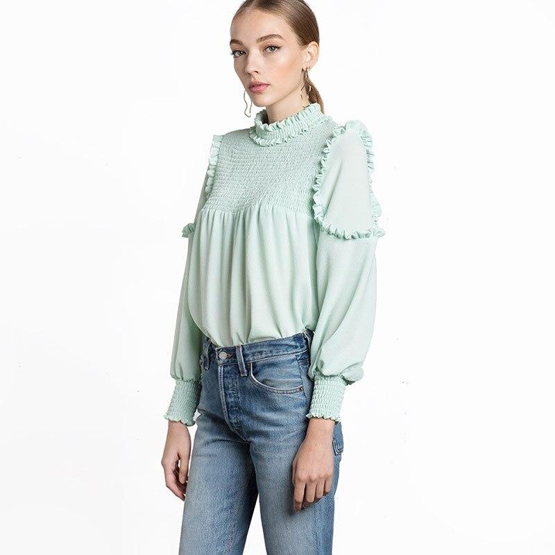 2017 font b Women b font Summer Tops Blouses Chiffon Lace Lotus Leaf font b Pullover