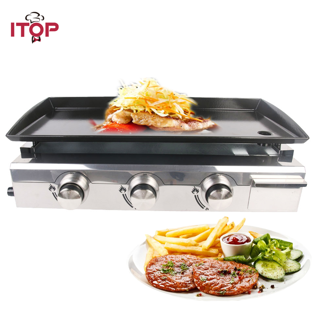 все цены на ITOP 3 Burners LPG Griddles Gas BBQ Grills Heavy Duty Grills Machine Outdoor Kitchen Barbecue Tools Iron Cooking Plate